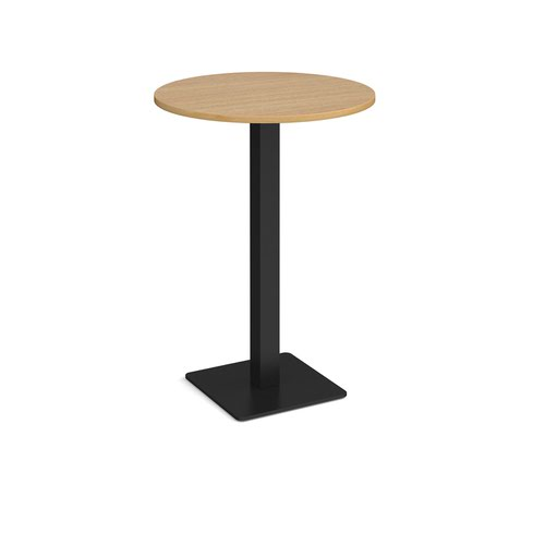 Brescia circular poseur table with flat square black base 800mm - oak