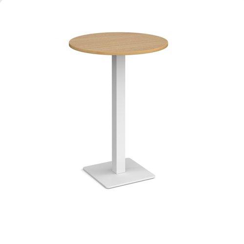 Brescia circular poseur table with flat square white base 800mm - oak