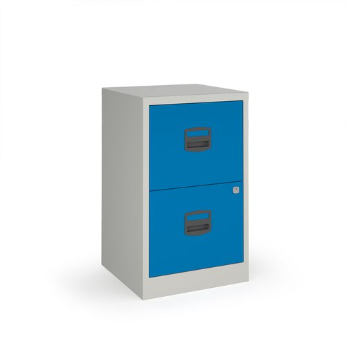 Bisley A4 home filer with 2 drawers - grey with blue drawers