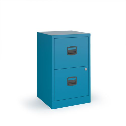 Bisley A4 home filer with 2 drawers - blue