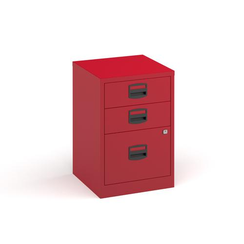 Bisley A4 home filer with 3 drawers - red