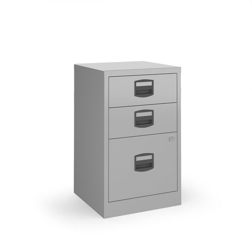 Bisley A4 home filer with 3 drawers - silver