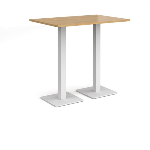 Brescia rectangular poseur table with flat square white bases 1200mm x 800mm - oak