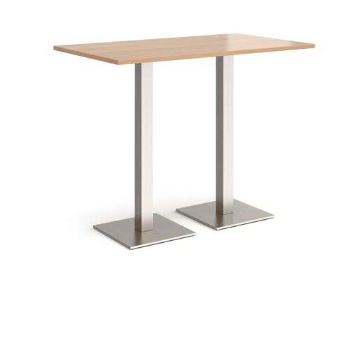 Brescia rectangular poseur table with flat square brushed steel bases 1400mm x 800mm - beech