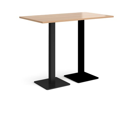 Brescia rectangular poseur table with flat square black bases 1400mm x 800mm - beech