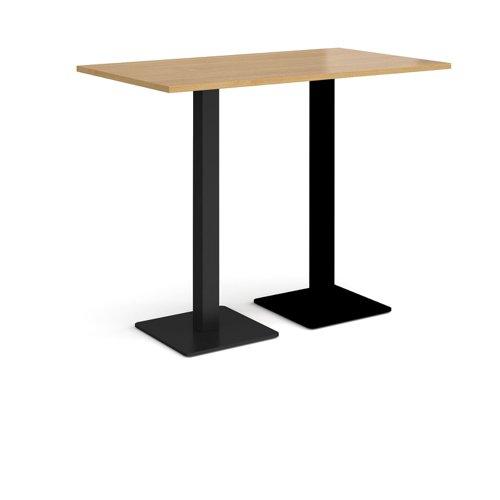 Brescia rectangular poseur table with flat square black bases 1400mm x 800mm - oak