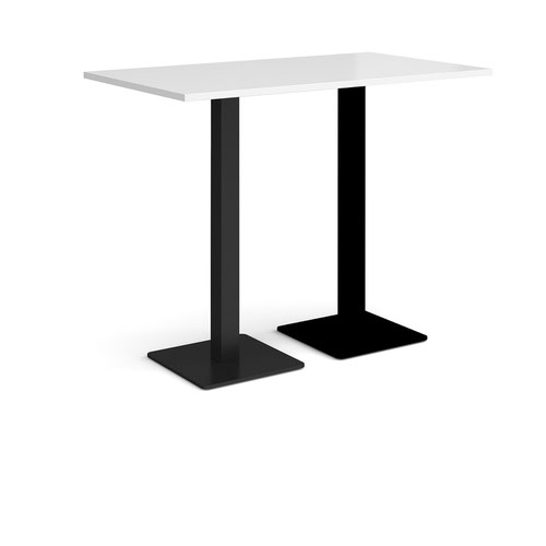 Brescia rectangular poseur table with flat square black bases 1400mm x 800mm - white
