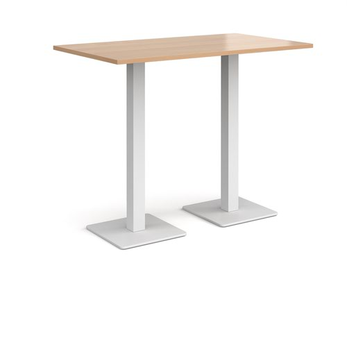 Brescia rectangular poseur table with flat square white bases 1400mm x 800mm - beech