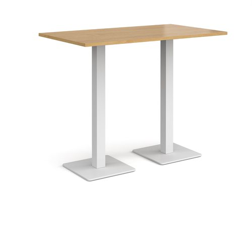 Brescia rectangular poseur table with flat square white bases 1400mm x 800mm - oak