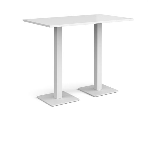 Brescia rectangular poseur table with flat square white bases 1400mm x 800mm - white