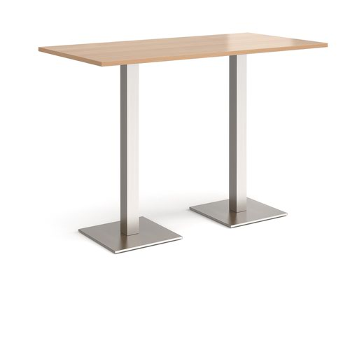 Brescia rectangular poseur table with flat square brushed steel bases 1600mm x 800mm - beech