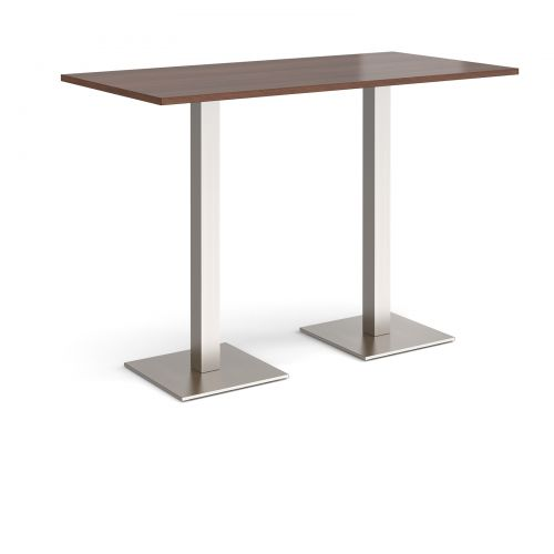 Brescia rectangular poseur table with flat square brushed steel bases 1600mm x 800mm - walnut