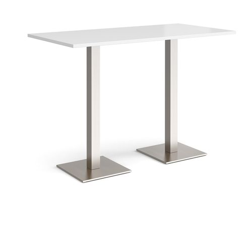 Brescia rectangular poseur table with flat square brushed steel bases 1600mm x 800mm - white