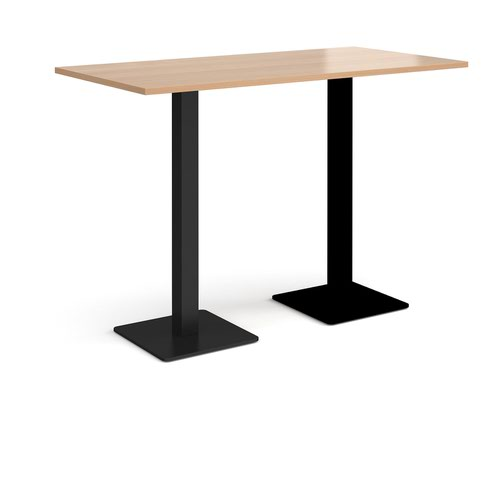 Brescia rectangular poseur table with flat square black bases 1600mm x 800mm - beech