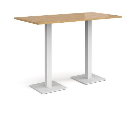 Brescia rectangular poseur table with flat square white bases 1600mm x 800mm - oak