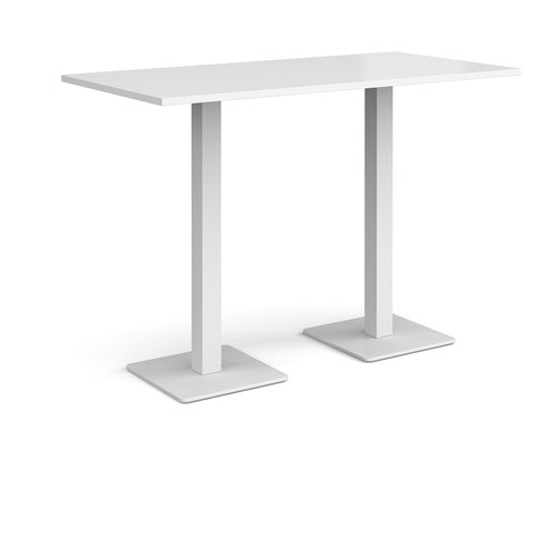 Brescia rectangular poseur table with flat square white bases 1600mm x 800mm - white