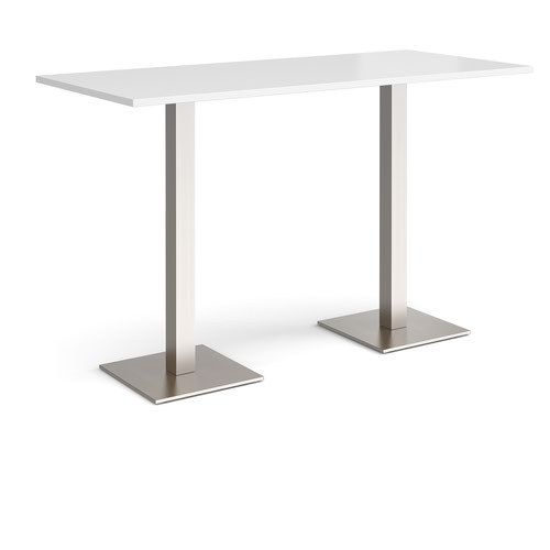 Brescia rectangular poseur table with flat square brushed steel bases 1800mm x 800mm - white