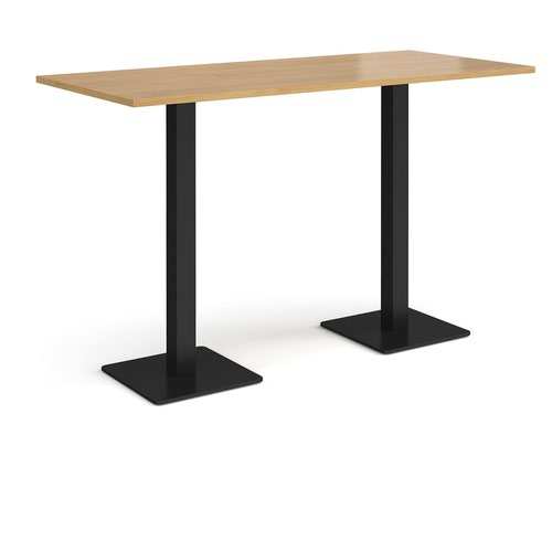 Brescia rectangular poseur table with flat square black bases 1800mm x 800mm - oak