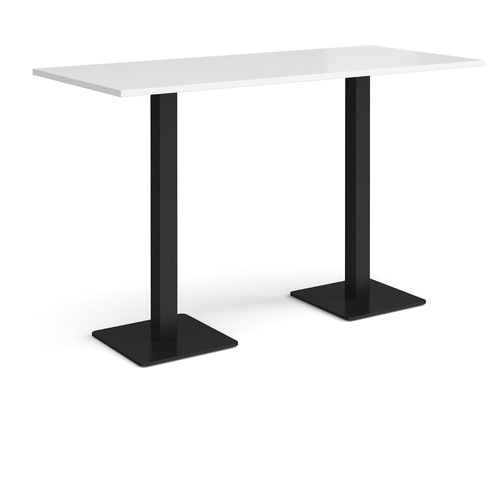 Brescia rectangular poseur table with flat square black bases 1800mm x 800mm - white