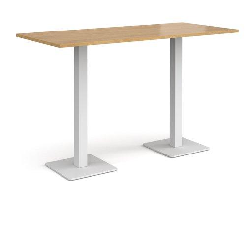 Brescia rectangular poseur table with flat square white bases 1800mm x 800mm - oak