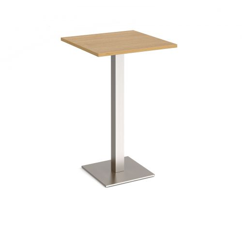 Brescia square poseur table with flat square brushed steel base 700mm - oak