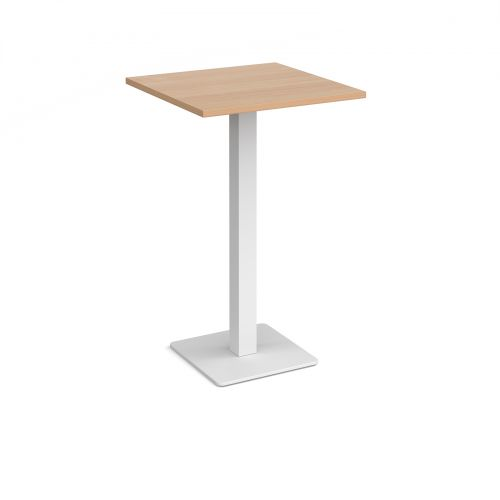 Brescia square poseur table with flat square white base 700mm - beech