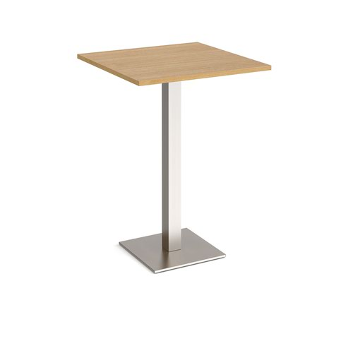 Brescia square poseur table with flat square brushed steel base 800mm - oak