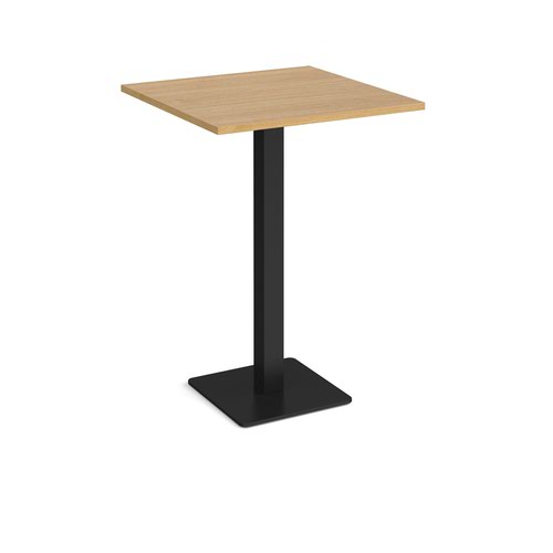 Brescia square poseur table with flat square black base 800mm - oak