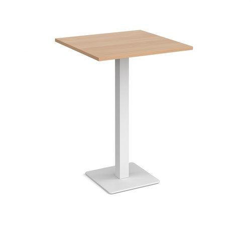 Brescia square poseur table with flat square white base 800mm - beech