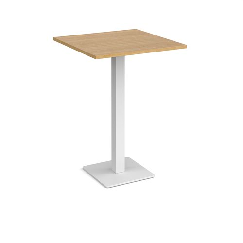 Brescia square poseur table with flat square white base 800mm - oak