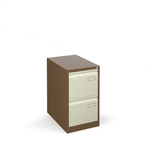 Bisley steel 2 drawer public sector contract filing cabinet 711mm high - coffee/cream