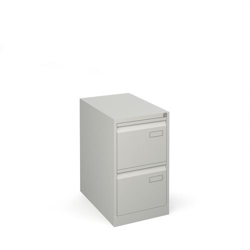 Bisley steel 2 drawer public sector contract filing cabinet 711mm high - goose grey