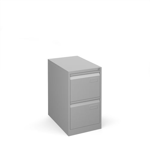Bisley 2 drawer contract filing cabinet 711mm high - silver