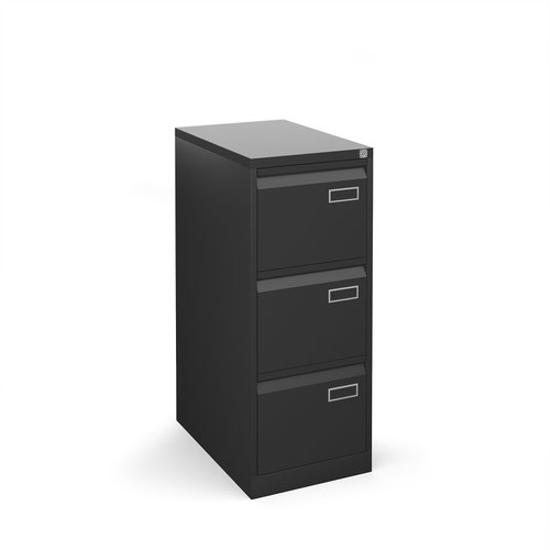 Bisley steel 3 drawer public sector contract filing cabinet 1016mm high - black