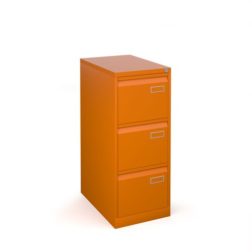 Bisley steel 3 drawer public sector contract filing cabinet 1016mm high - orange