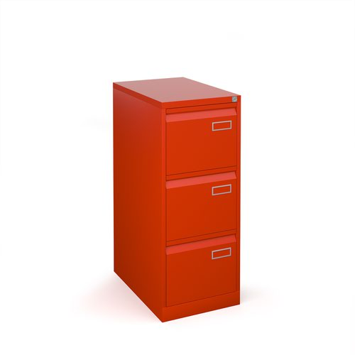 Bisley steel 3 drawer public sector contract filing cabinet 1016mm high - red