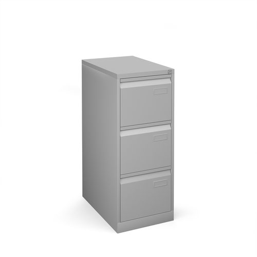 Bisley steel 3 drawer public sector contract filing cabinet 1016mm high - silver