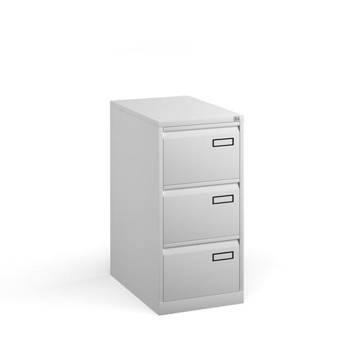 Bisley steel 3 drawer public sector contract filing cabinet 1016mm high - white