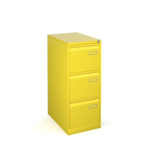 Bisley steel 3 drawer public sector contract filing cabinet 1016mm high - yellow