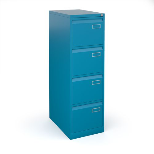 Bisley steel 4 drawer public sector contract filing cabinet 1321mm high - blue