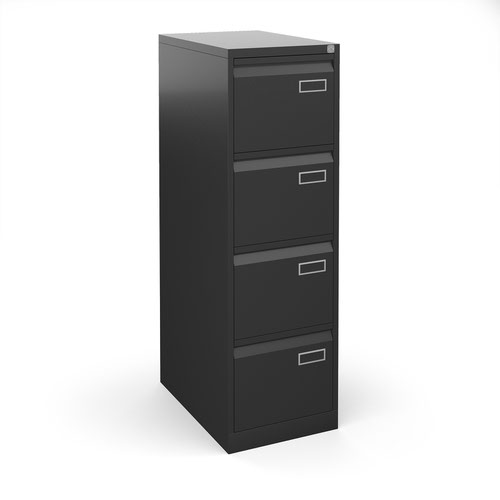 Bisley steel 4 drawer public sector contract filing cabinet 1321mm high - black