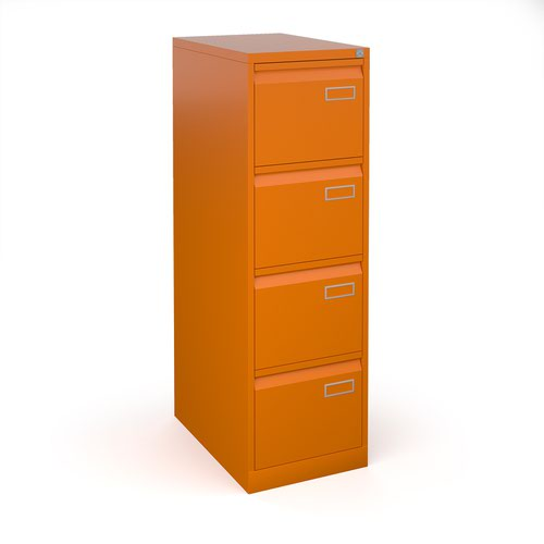Bisley steel 4 drawer public sector contract filing cabinet 1321mm high - orange