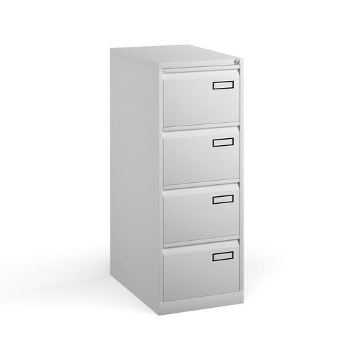 Bisley steel 4 drawer public sector contract filing cabinet 1321mm high - white