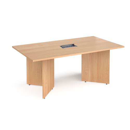 Arrow head leg rectangular boardroom table 1800mm x 1000mm in beech with central cutout and Aero power module