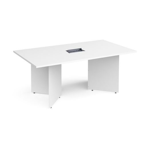 Arrow head leg rectangular boardroom table 1800mm x 1000mm in white with central cutout and Aero power module