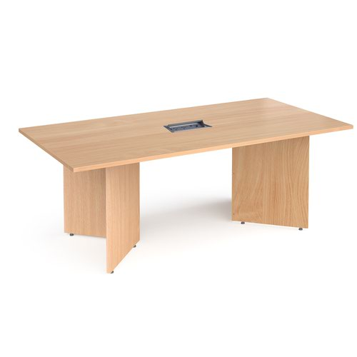 Arrow head leg rectangular boardroom table 2000mm x 1000mm in beech with central cutout and Aero power module