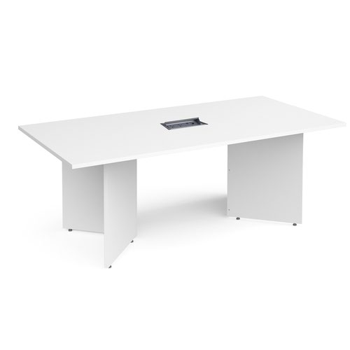 Arrow head leg rectangular boardroom table 2000mm x 1000mm in white with central cutout and Aero power module