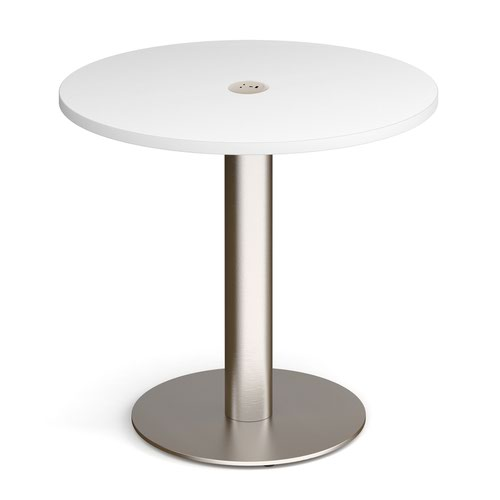 Monza circular dining table 800mm in white with central circular cutout and Ion power module in white