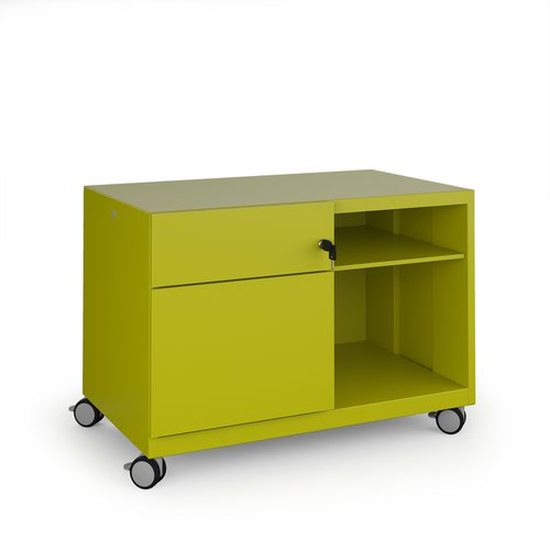 Bisley steel caddy left hand storage unit 800mm - green