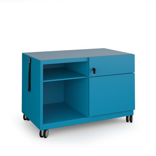 Bisley steel caddy right hand storage unit 800mm - blue